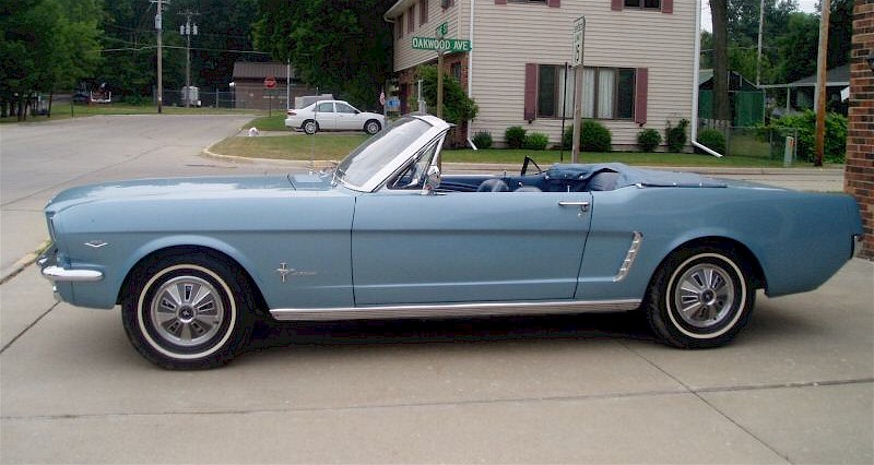 Silver Blue 65 Mustang Convertible