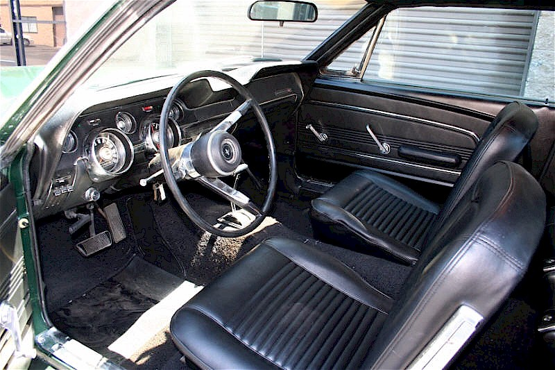 Dark moss green 1967 ford mustang hardtop photo detail for 1967 mustang interior pictures